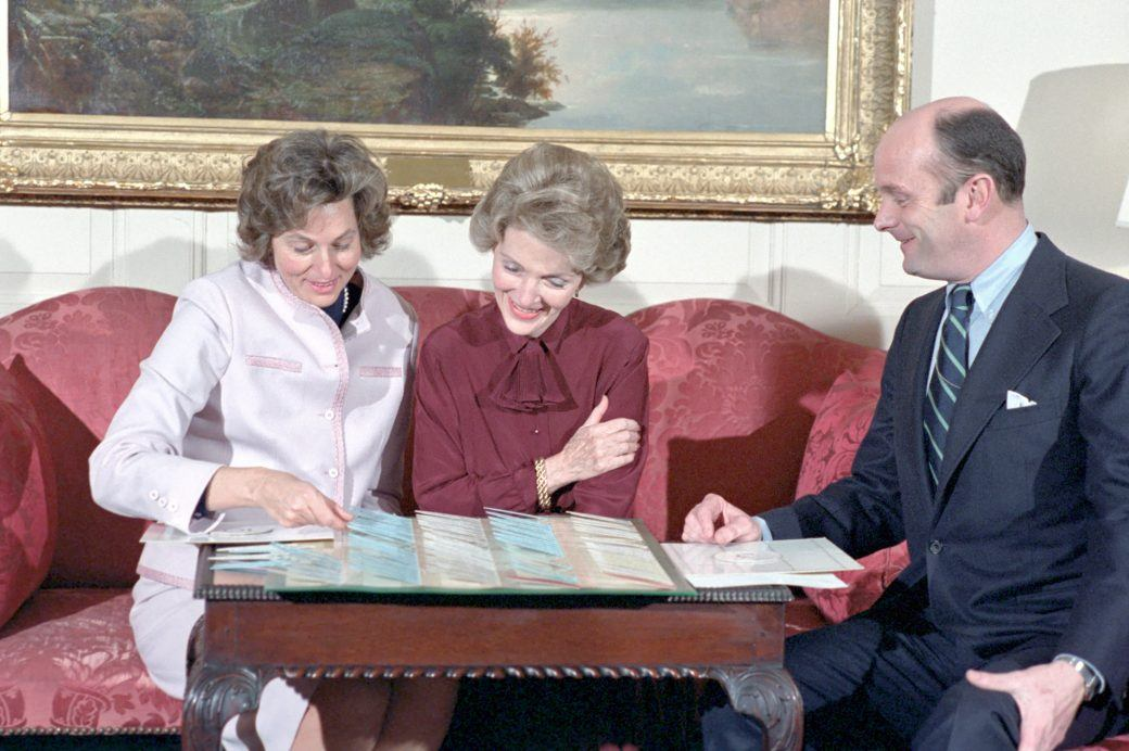 Nancy Reagan reviews plans for a state dinner