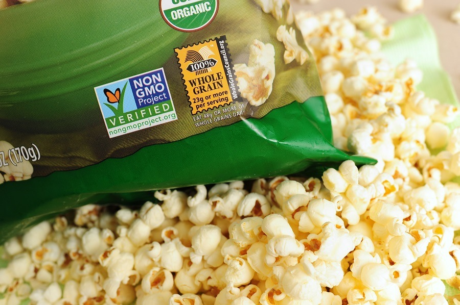 Popcorn with non GMO label