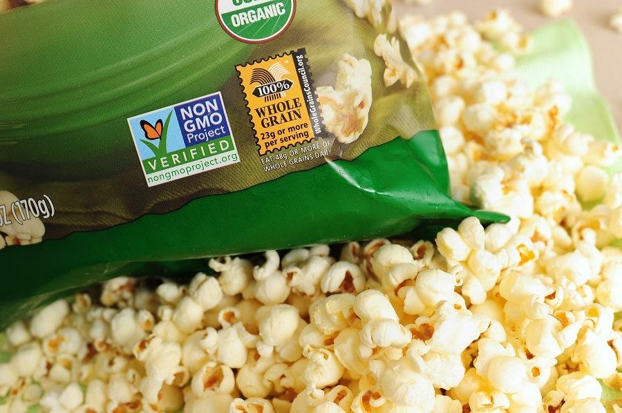 Popcorn with non GMO label