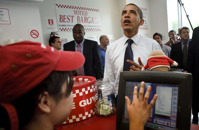 President Obama Visits Local Five Guys Burger Restaurant
