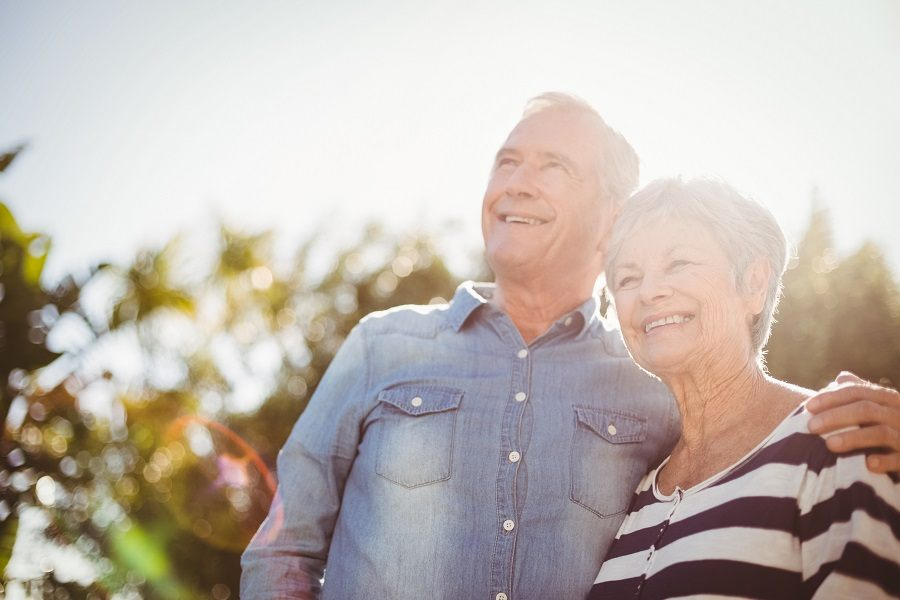 Happy senior couple outdoors