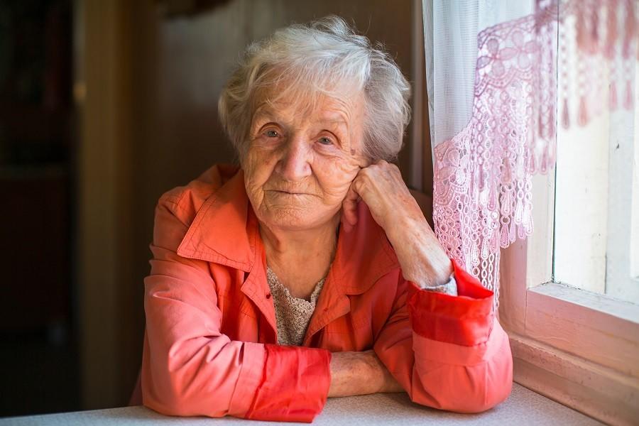 Elderly woman alone