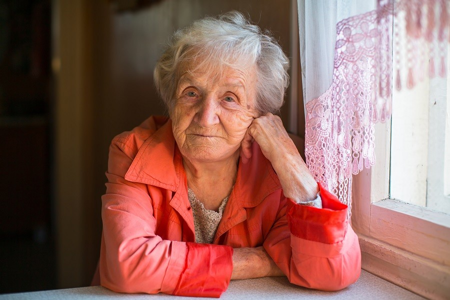 Elderly woman alone