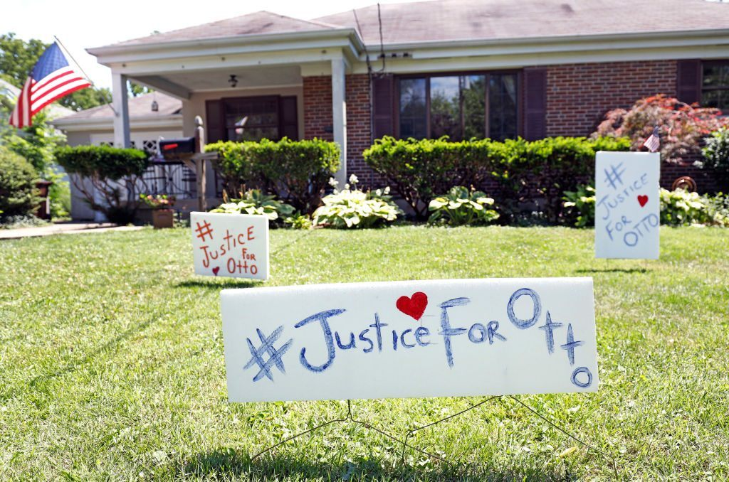 """Signs on the front lawn of Lauren Wadds Wyoming, Ohio home proclaim, """"#Justice For Otto"""" as the town of Wyoming prepares for the funeral of Otto Warmbier"""
