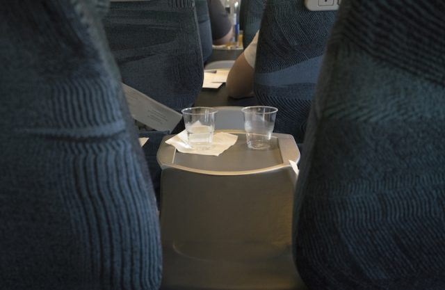 Cups on a plane.