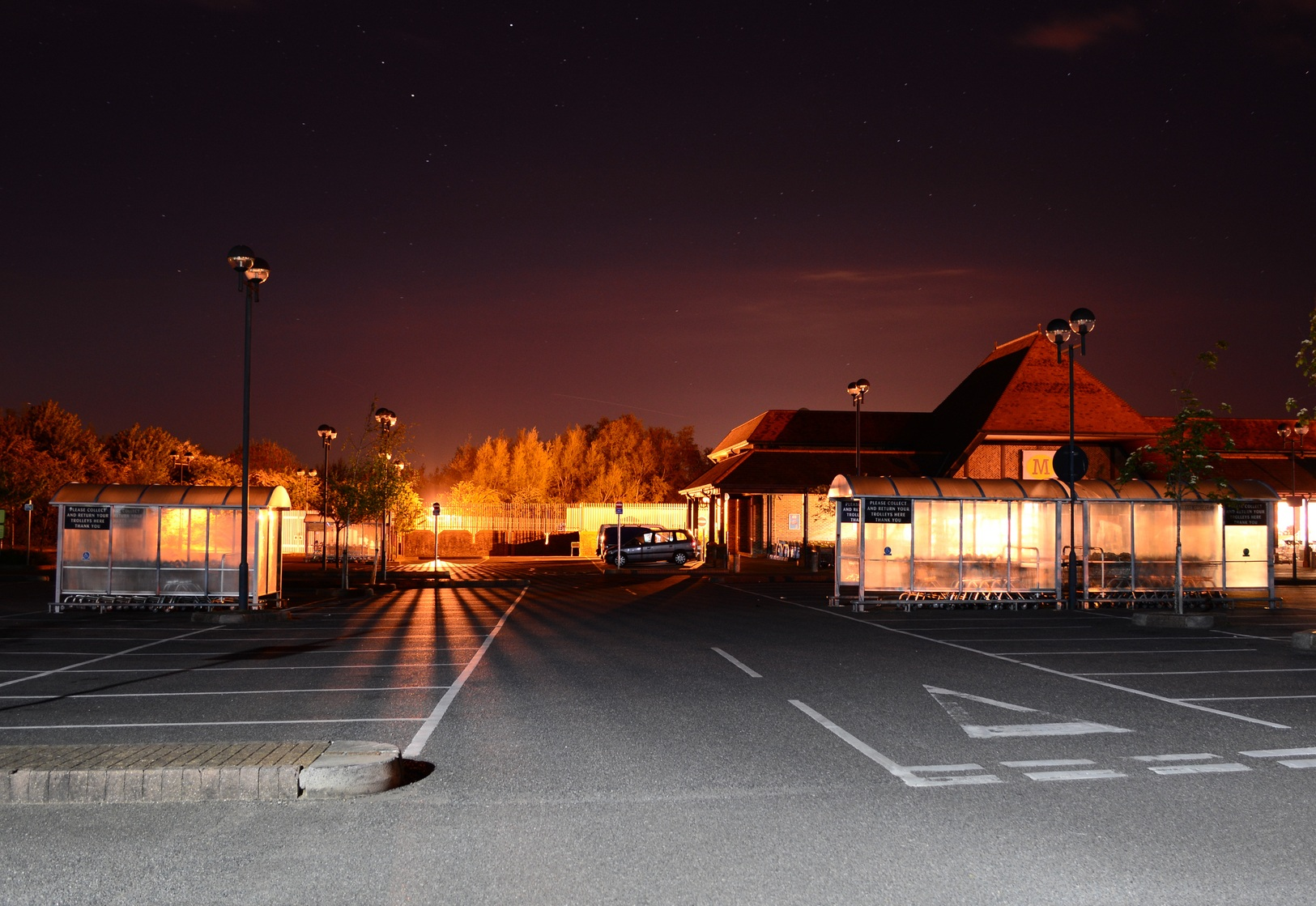 Store parking lot at Night