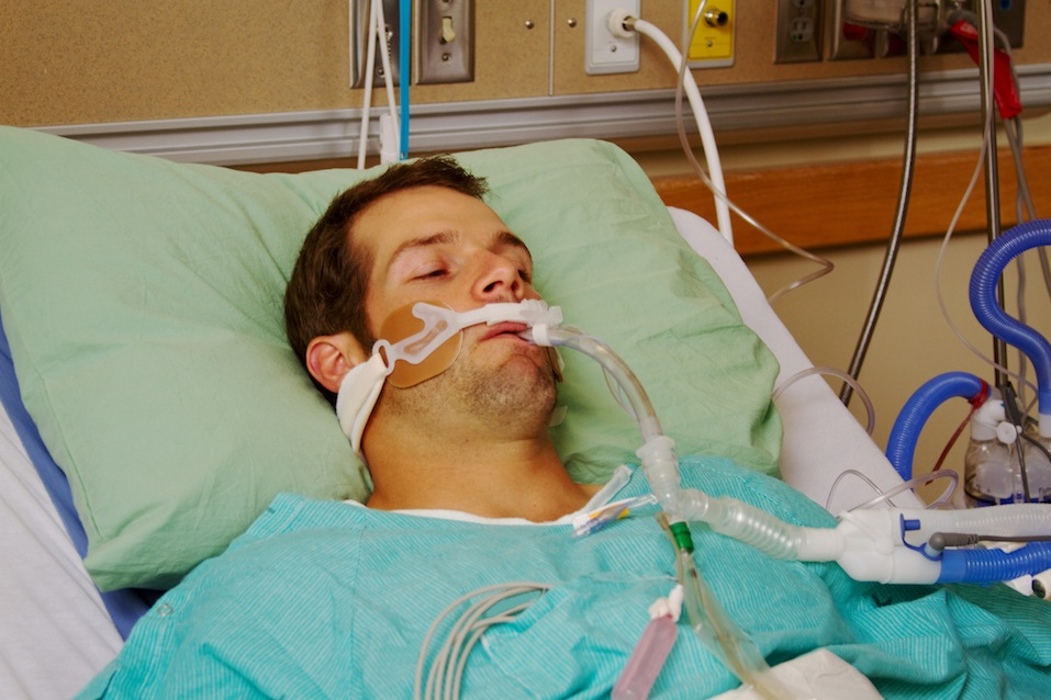 Patient in hospital on respirator