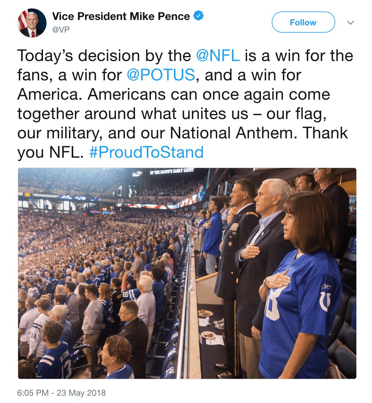 Mike Pence tweet nfl