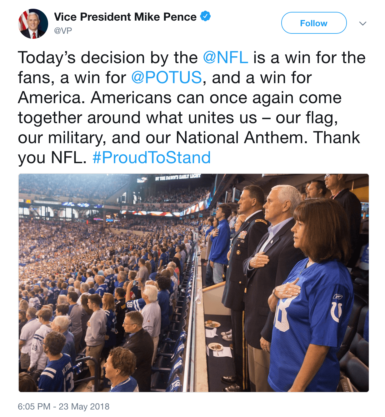 Mike Pence tweet nfl