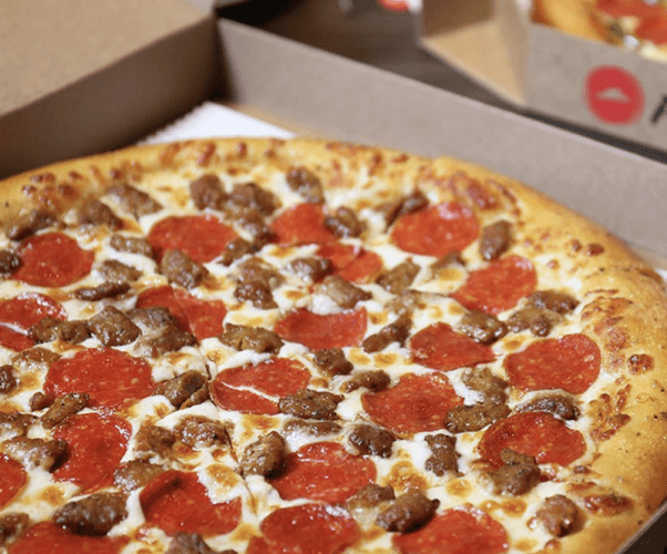 A Pizza Hut meat lover's pizza.