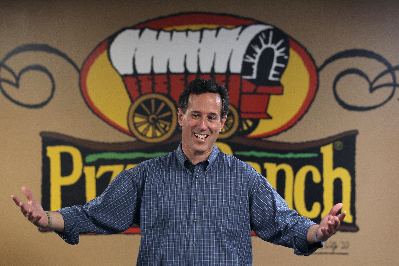 Rick Santorum campaigning at Pizza Ranch