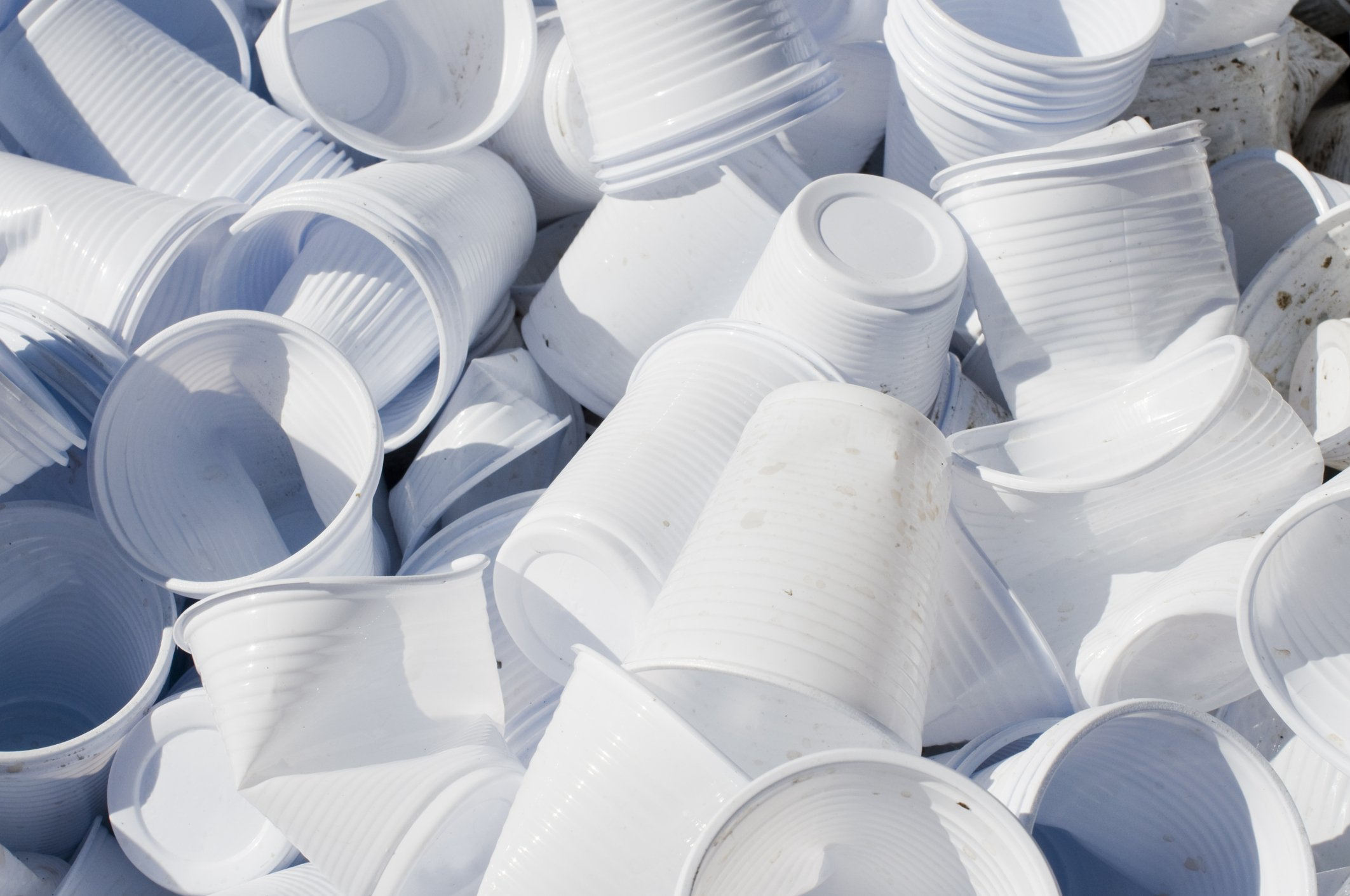 Used Disposable plastic Cups