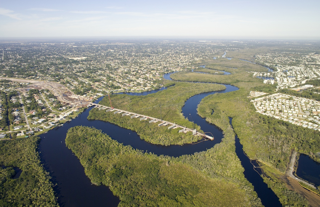 Aerial View of the Port St. Lucie River - Crosstown Parkway Extension Project