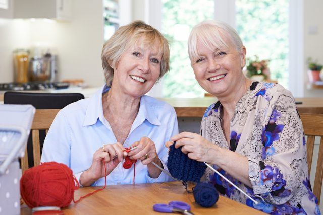 Senior Female Friends Knitting At Home Together