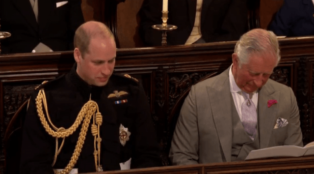 Prince Charles sitting next to Prince William.