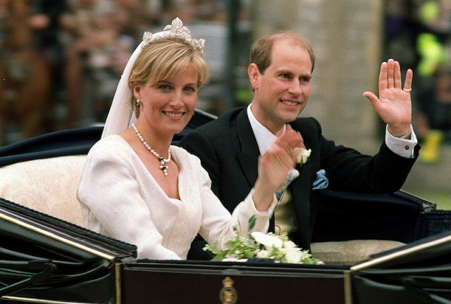 Prince Edward and Sophie Rhys-Jones in their wedding carriage.