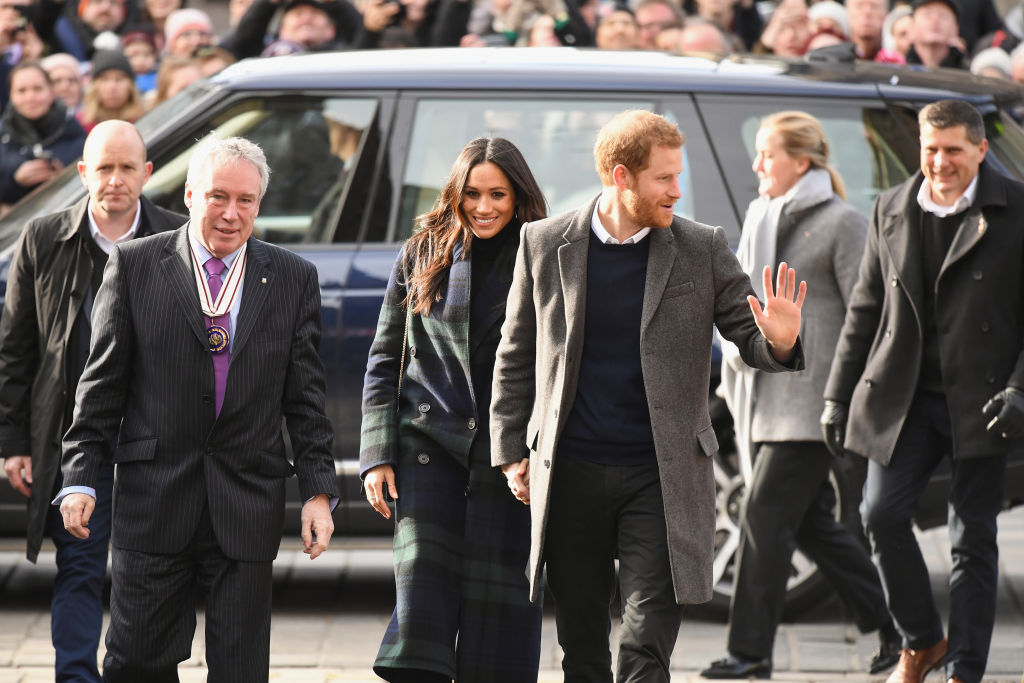 Prince Harry and Meghan Markle arrive at Social Bite cafe in Rose Street