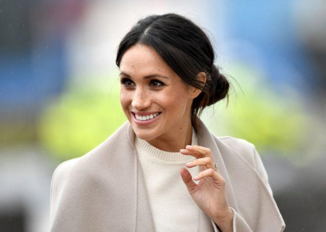 Meghan Markle is seen ahead of her visit to the iconic Titanic Belfast.
