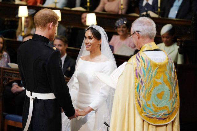 Meghan Markle and Prince Harry at the altar.
