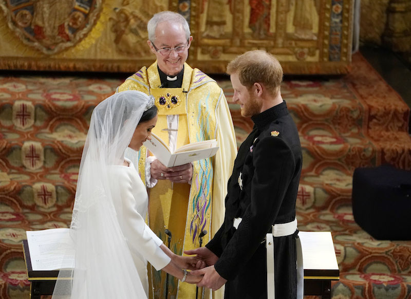 Prince Harry and Meghan Markle stand at the altar at St George's Chapel on May 19, 2018.