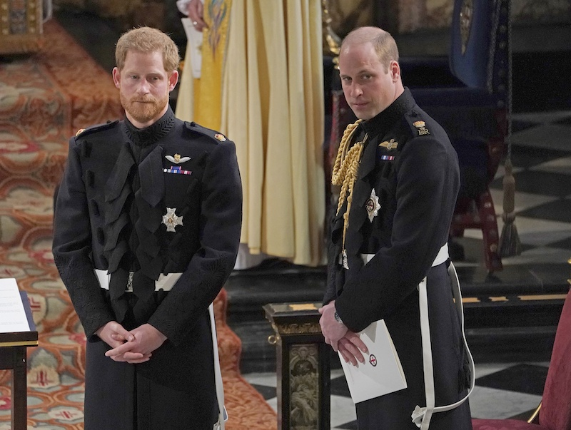 Prince Harry stands with Prince William at his wedding to Meghan Markle.