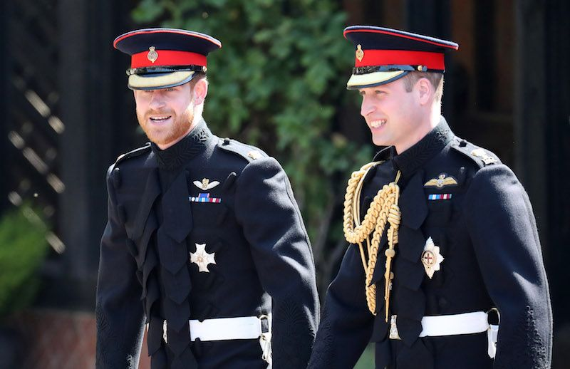 Prince Harry arrives at his wedding to Meghan Markle with his best man, Prince William.