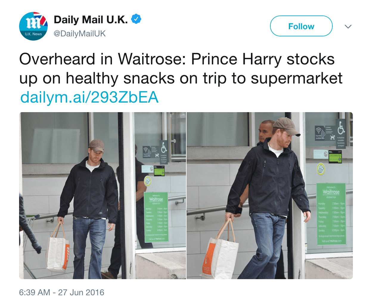 Prince Harry grocery shopping