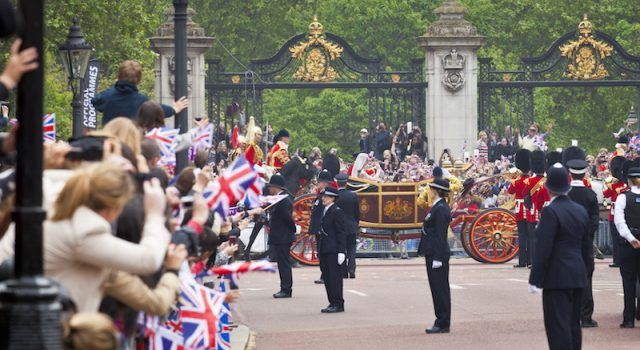 Police officers and security guards lined up during Prince William's royal wedding.