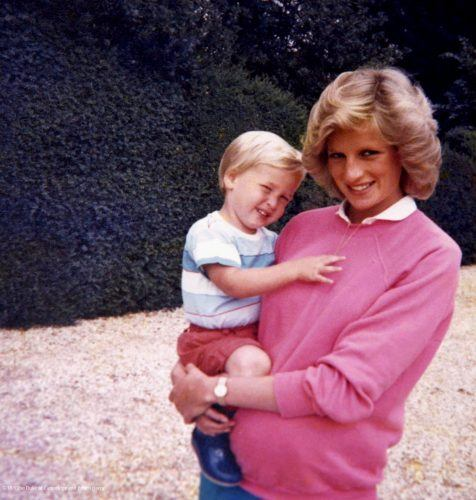 Princess Diana holding Prince William
