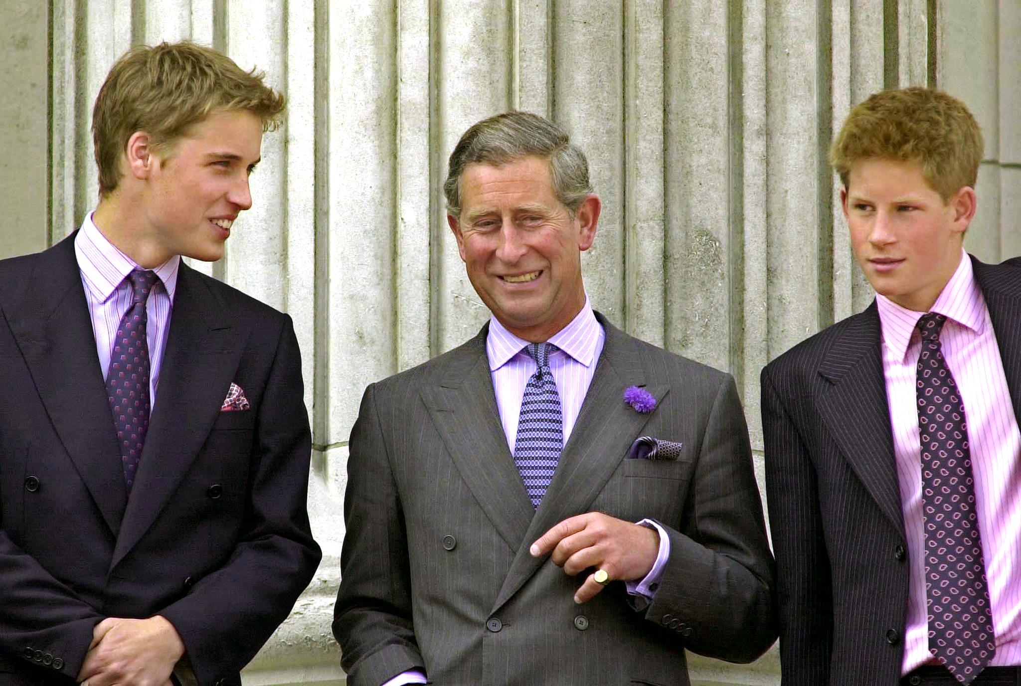 Prince William, Prince of Wales and Prince Harry on the balcony of Buckingham Palace 04 August 2000