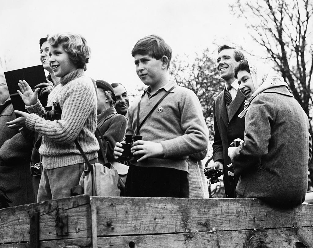 Queen Elizabeth II With Anne And Charles at the horse trials