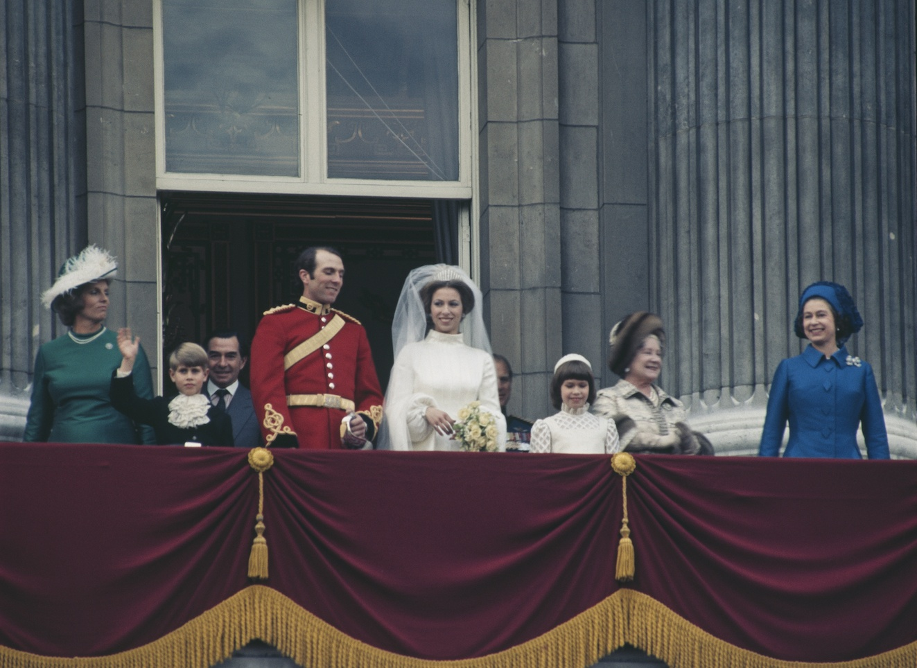 Anne, the Princess Royal and Mark Phillips pose on the balcony of Buckingham Palace