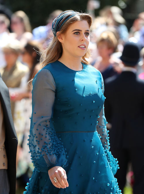 Princess Beatrice in a blue dress.