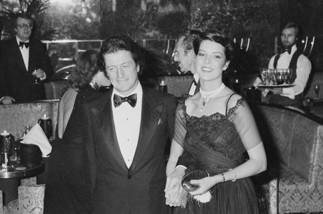Princess Caroline and Philippe Junot at a party.