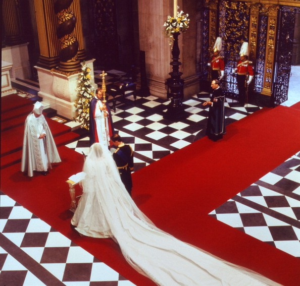 picture of Lady Diana, Princess of Wales and Prince Charles of Wales at their wedding in London