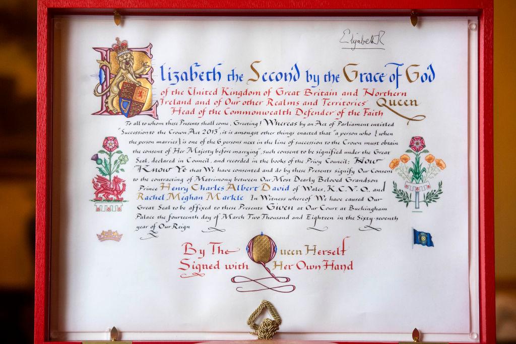 Queen Elizabeth formal consent royal wedding Harry and Meghan
