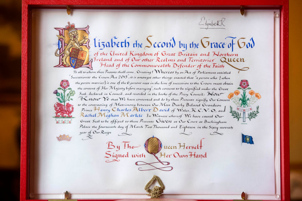 Queen Elizabeth formal consent royal wedding Harry and Meghan