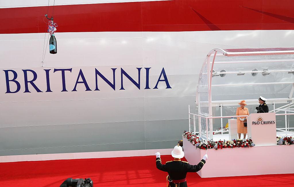 Britain's Queen Elizabeth II names the new P&O Cruises ship