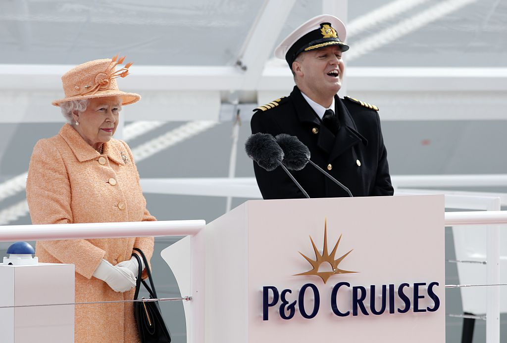 Britain's Queen Elizabeth II names the new P&O Cruises ship
