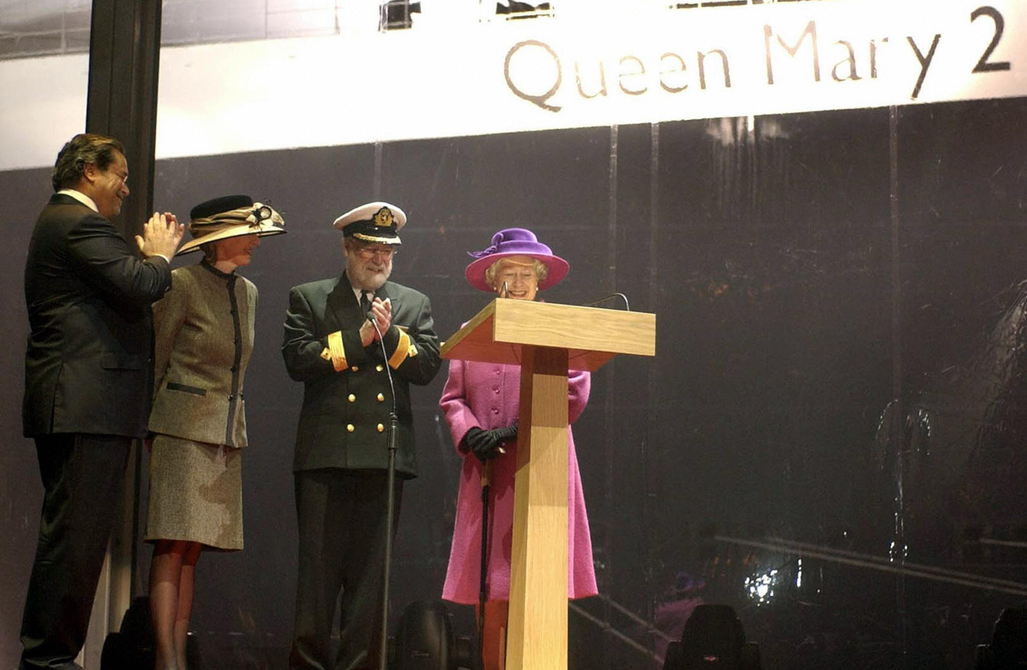 Queen Elizabeth ceremoniously names the Queen Mary 2 cruise liner