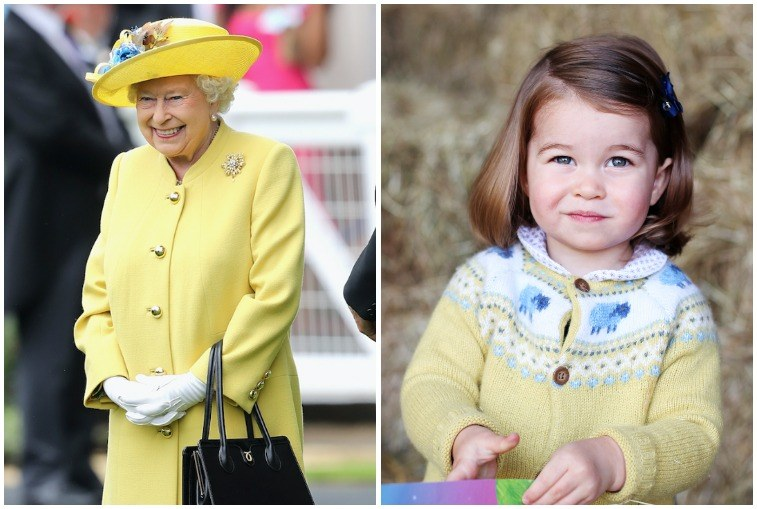 Queen Elizabeth and Princess Charlotte in yellow