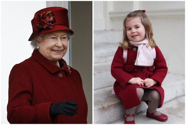 Queen Elizabeth and Princess Charlotte wearing red collage.
