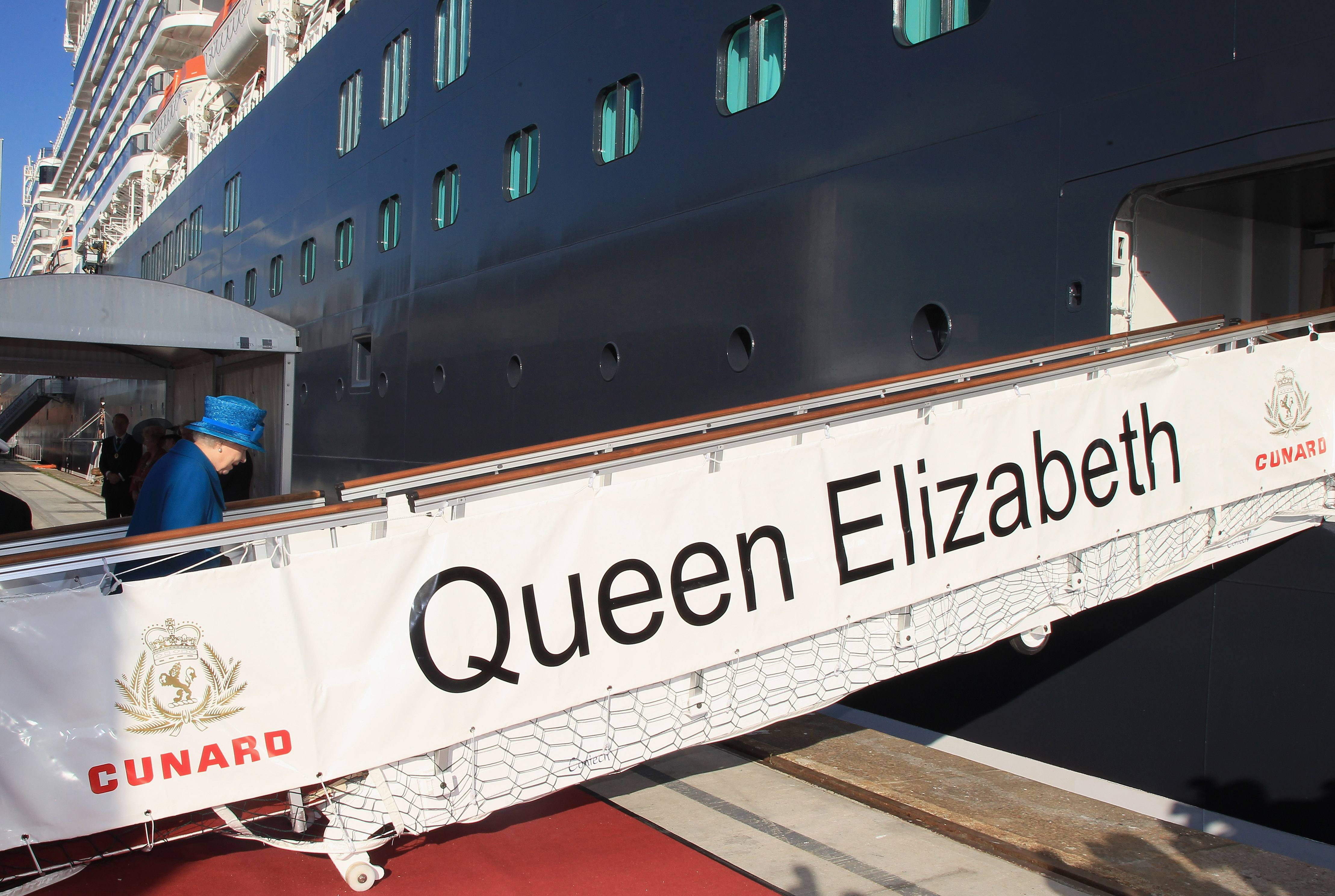 Queen Elizabeth II arrives to name Cunard's new cruise-liner