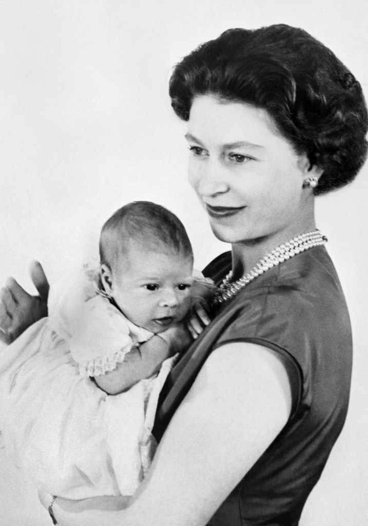 Queen Elizabeth with baby Prince Andrew