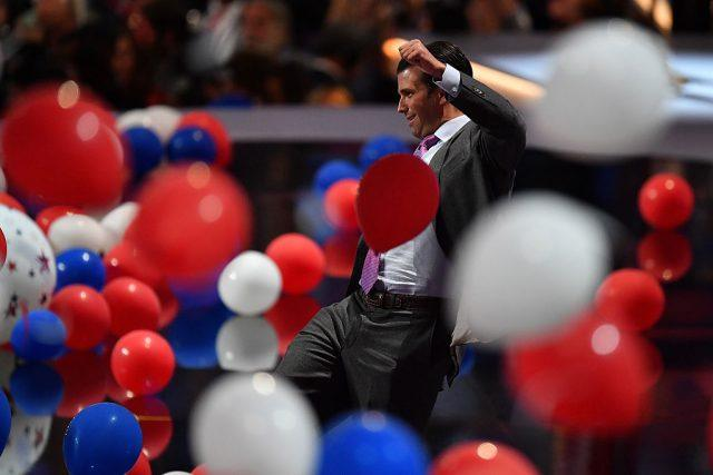 Donald Trump Jr. kicks balloons at the end of the Republican National Convention