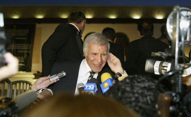 Ricardo Montalban speaking to reporters.