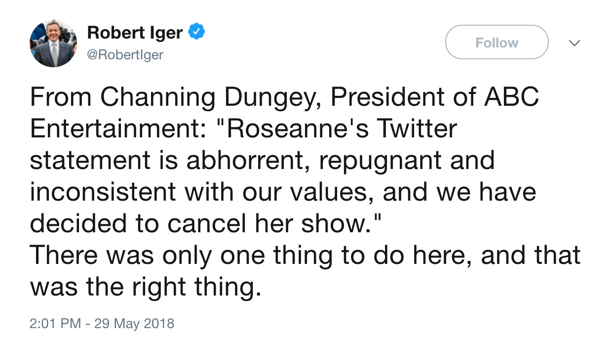 Robert Iger tweet