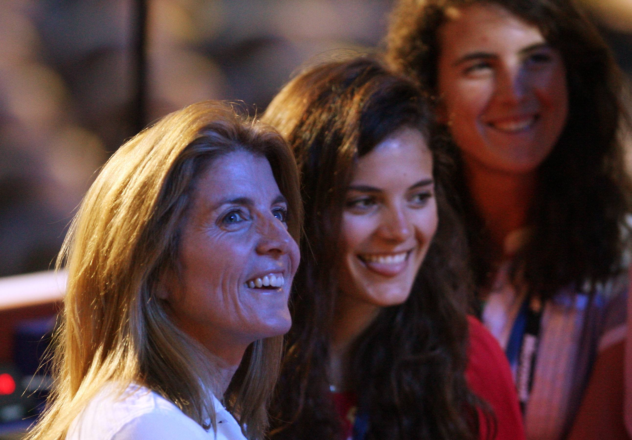 Caroline Kennedy Schlossberg and daughters Rose Schlossberg and Tatiana Schlossberg