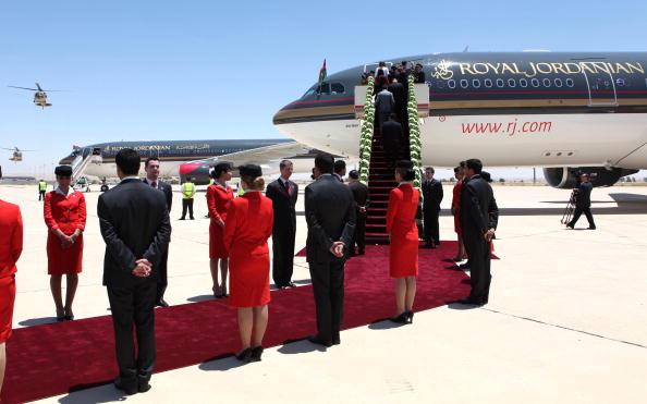 Jordanian flight attendants participate in a special ceremony