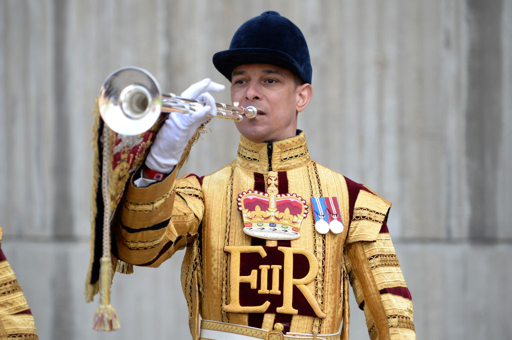 State trumpeters play in the Regimental Square.